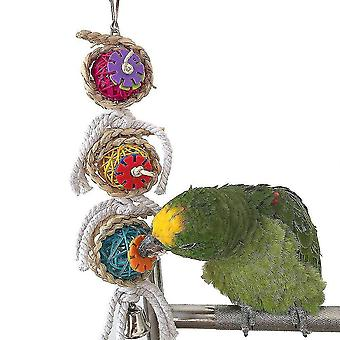 Parrot Bird Toys Bite Toy Rattan Ball Twist String