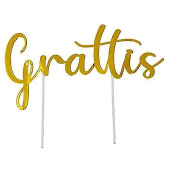 Tårtdekoration Grattis Guld 5-pack