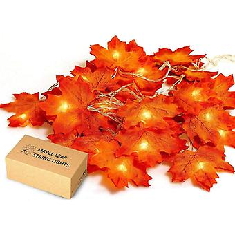 Maple Wreath of Fall Leaves, 20 Lights, Perfect Decoration for Thanksgiving and Christmas Lights(Yellow)