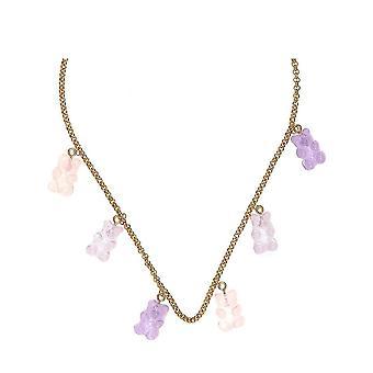 Gemshine Halskette mit Gummibärchen im Rosa Farbverlauf Pastell. Made in Germany