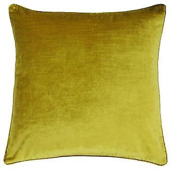 Chair sofa cushions riva paoletti luxe velvet cushion cover - ochre yellow - soft velvet feel fabric - reversible -