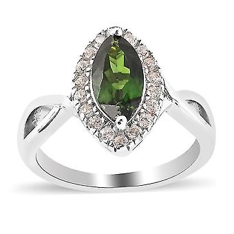 TJC Chrome Diopside Halo Ring 925 Sterling Silver White Zircon 5.52ct(V)