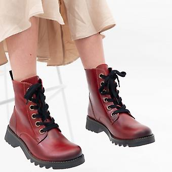 Fly London Ragi539fly Ladies Leather Ankle Boots Red