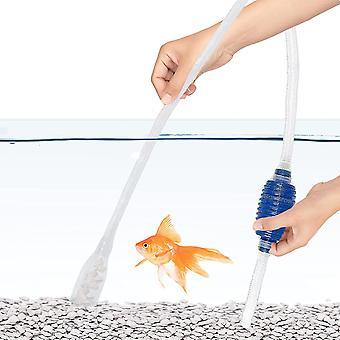 Akvaario-soran puhdistussarja pohjamaalilampulla 2 minuutin ajan - helpottaa usein veden vaihtoa ilman, että kaloja tai kasveja joudutaan siirtämään pois vesiviljelystä
