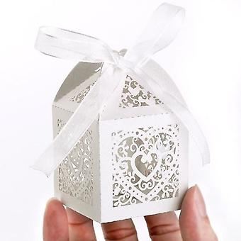 100pcs Candy Box Candy Box Cage With Ribbon Vine Heart Card Ivory Pearl For Wedding Size About 5 X 5 X 7.5cm