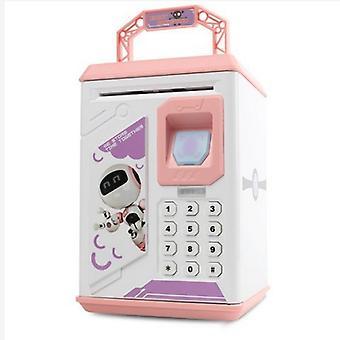 Musik Cartoon Kinder Sparschwein, Kann automatisch Bargeld / Münze Sparschwein schlucken, Spielzeug safe, Fingerabdrucksensor Passwort Boxpink