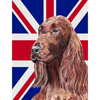 Irish Setter with Engish Union Jack British Flag Flag Canvas House Size