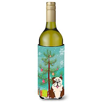 Merry Christmas Tree English Bulldog Brindle White Wine Bottle Beverge Insulator