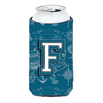 Letter F Sea Doodles Initial Alphabet Tall Boy Beverage Insulator Hugger
