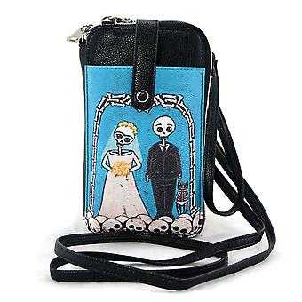 Black and Blue Skeleton Wedding Phone Wallet with Removable Straps