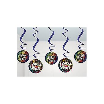 Partij gunsten 5 decoratie Hangers gelukkig Nieuwjaar 60 cm