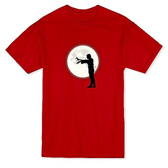 Zombie Walking Silhouette Cool Moon Background Graphic Men's T-shirt