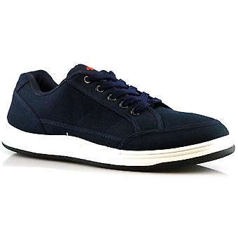 Mens Padded Collar TPR Sole Boxed Casual Canvas Trainers Shoe