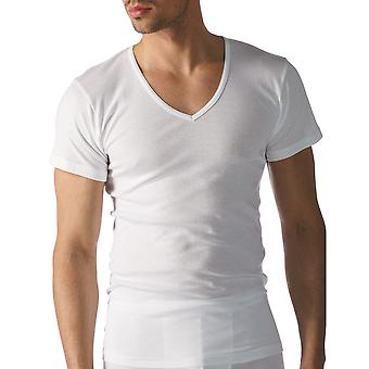 Mey 49007-101 mannen Casual katoenen witte effen kleur korte mouwen Top