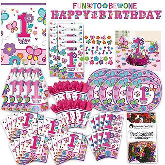 Pierwsze urodziny 1 dziewczyna malucha party zestaw XL 94-teilig dla 8 Gości zabawy na jedno opakowanie ozdobny party