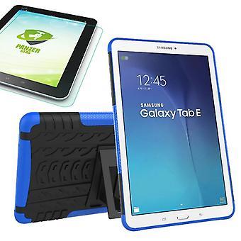 Hybride buiten tas blauw voor Samsung Galaxy tab E 9.6 SM T560 + 0.4 gehard glas