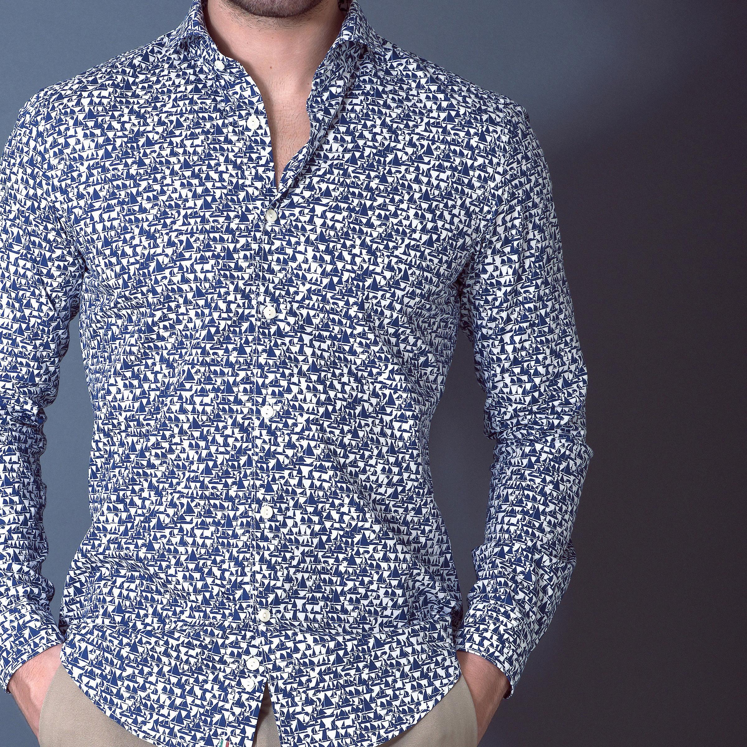 Fabio Giovanni Capertino Hemd - italienische lässig elegante Herrenshirt - Langarm