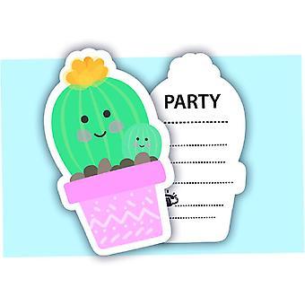 Cactus partij uitnodiging kaarten 6 delige kinderen thema verjaardagsfeest