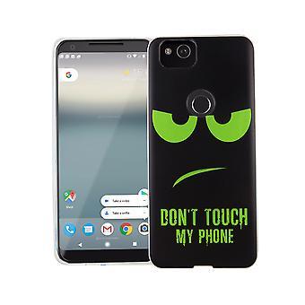 Caja del teléfono celular de Google pixel 2 tapa bolsa protectora caso motivo slim silicona TPU no toques mi teléfono verde
