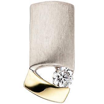 Pendant 925 Silver bicolor gold-plated matt Matt 1 cubic zirconia
