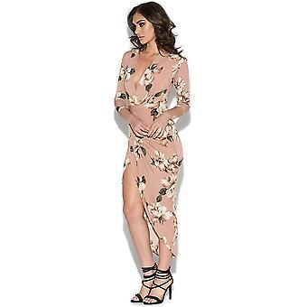 Floral Kim Plunge vestido estampado