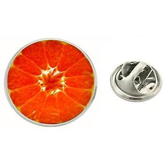 Bassin and Brown Blood Orange Fruit Jacket Lapel Pin - Red/Orange