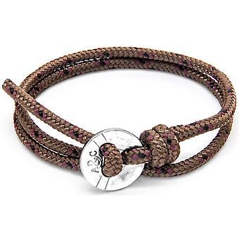 Âncora e tripulação Lerwick prata e corda pulseira - Brown