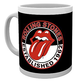 The Rolling Stones Mug Established 1962 classic Tongue Band Logo Official White