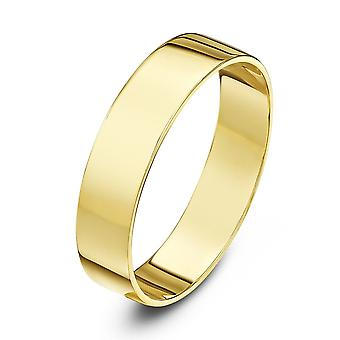 Star Wedding Rings 18ct Yellow Gold Light Flat 4mm Wedding Ring
