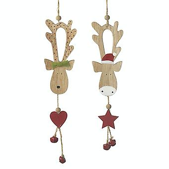 Heaven Sends Pair Of Cute Reindeer Decorations