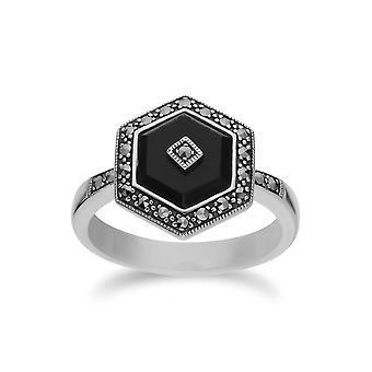 Gemondo стерлингов серебра Черный оникс и шестигранные Марказит кольца