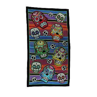 五颜六色的卡拉韦拉斯条纹糖骷髅沙滩毛巾