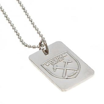 West Ham United FC Silver Plated Dog Tag And Chain