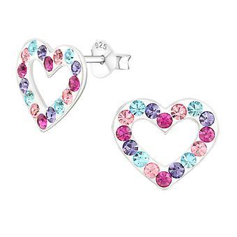 Heart - 925 Sterling Silver Crystal Ear Studs - W14055x