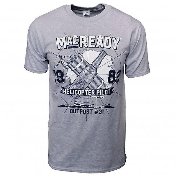 Honcho SFX Mens MacReady 1982 Outpost 31 # T Shirt Heather Grey