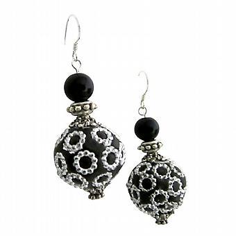 Ethnic Elegant Handmade Bead Holiday Gift Silver 92.5 Hook Earrings