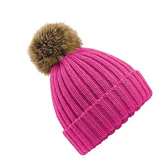 ポンポン ポンポン ビーニー分厚いニット帽ファー ピンク ネイビー ブラックとグレーで利用可能