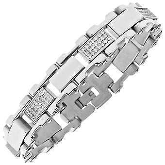 Iced out solid stainless steel cubic zirconia bracelet - 16mm silver