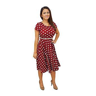 Dbg women's  polka dots short sleeve scoop neck polyester dresses