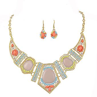 Ladies colourful crystal aztec style jewel statement & earring set