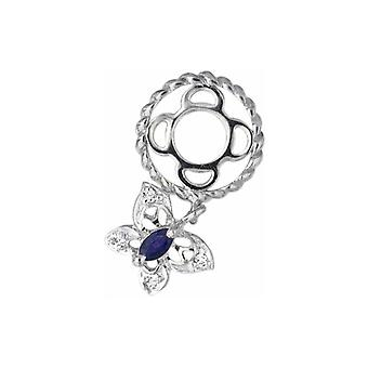 Storywheels Silver & Sapphire Butterfly Dangle Charm S106S