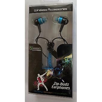 LUXMO Sound-Isolating Zip-Budz Earphones, Universal 3.5mm Zipper Headset - Blue