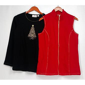 Quacker Factory Top French Terry Vest & Long Slv Embellished Top Red A296558