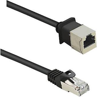 Renkforce RJ45 Networks Kabelverlängerung CAT 5e F/UTP 0,50 m Schwarz inkl. Detent, vergoldete Steckverbinder