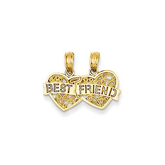 14k Yellow Gold Textured Polished Filigree Best Friend Breakable Double Hearts Pendant - 1.0 Grams
