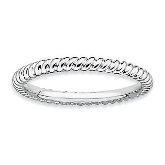 925 Sterling Silver Polished Patterned Stackable Expressions Rhodium Twisted Ring Jewelry Gifts for Women - Ring Size: 5