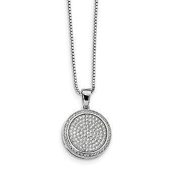 925 plata esterlina pave anillo de primavera rodiado y CZ Cubic Zirconia simulado diamante brillante ascuas collar 18