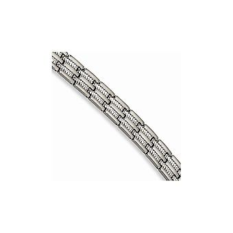 Stainless Steel Fold over Brushed and Polished Bracelet 8.75 Inch Jewelry Gifts for Women