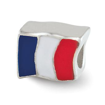 925 Sterling Silver Enamel Polished finish Reflections France Flag Bead Charm Pendant Necklace Jewelry Gifts for Women