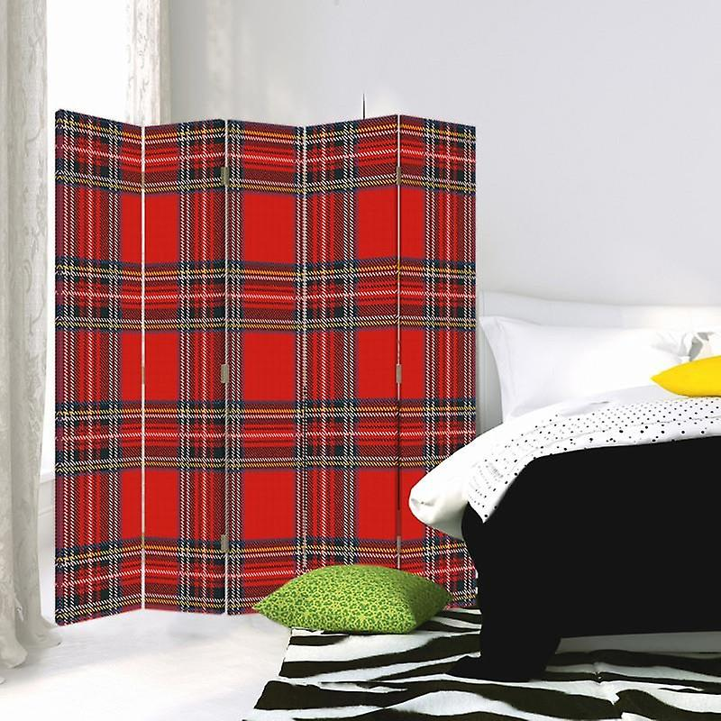 Room Divider, 5 panneaux, Double-Sided, Rotatable 360 ?? Canvas, Checkered 2
